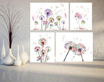 Printable 4 Dandelions set, dandelions Flowers set of 4 prints Instant Download Dandelions digital print dandelions downloadable prints set