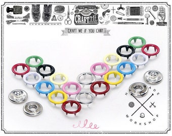 25SETS 10MM Multi Color METAL Ring prong snaps button fasteners 4 part ring for western shirt clothes popper studs.