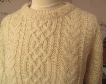 Vintage Irish Aran hand knit wool sweater pullover by Fisherman, Size Large, chunky Fisheman's sweater, cable-knit, Made in Ireland