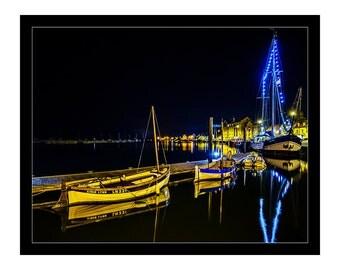 Wells Next The Sea Night Sky Celestial Boat Sailing Nautical Home Art Print Decor Coastal Reflections