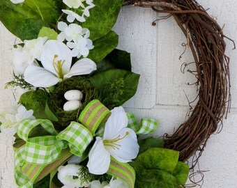 Spring Wreath, Lily Wreath With Bird Nest, White Ranunculus, Fern, Summer Wreath