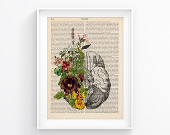 Anatomy print, Medical poster / Brain Bloom / Vintage Illustration, Upcycled Page Print Wall decor Retro Poster Vintage Book print 089