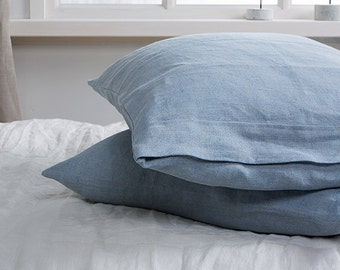 Linen pillowcases-Set of two linen pillowcases-Linen bedding-Pre washed pillow shams in Air Blue color-Available in any sizes.