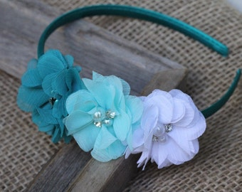 Teal hard headband aqua white blue - chiffon flowers satin covered plastic headband pearl and rhinestone - toddler headband girls headband