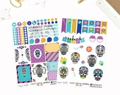 Sugar Skulls Weekly Monthly Planner Sticker Kit Erin Condren Inkwell Press Happy Planner Plum Paper set Day of the Dead Cinco de mayo