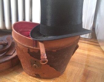 Antique victorian top hat in original case