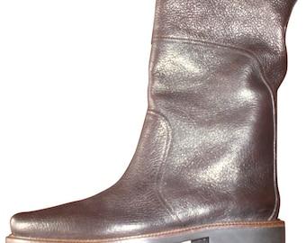 Boots leather Stephane Kelian Paris Haute couture Brown grained P Fr 38 / 39-5 Uk mixed Boyfriends Overside new vintage