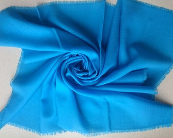 Pure Supersoft Wool Square Vintage Scarf, Turquoise Blue, Delicate Fringe, Kreier of Switzerland - New Unused Perfect from 1980s Stock