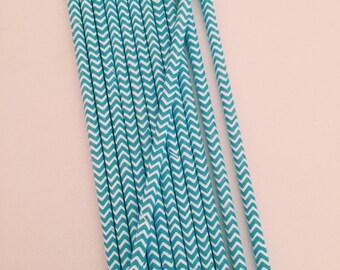 Turquoise & White Chevron Stripe Paper Straws