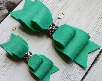 Aquamarine · Standard OR Super Felt Hair Bow // Double Loop Bows // Baby Headbands // Toddler Hair Clips // Wool Felt Bows // Oversized Bows