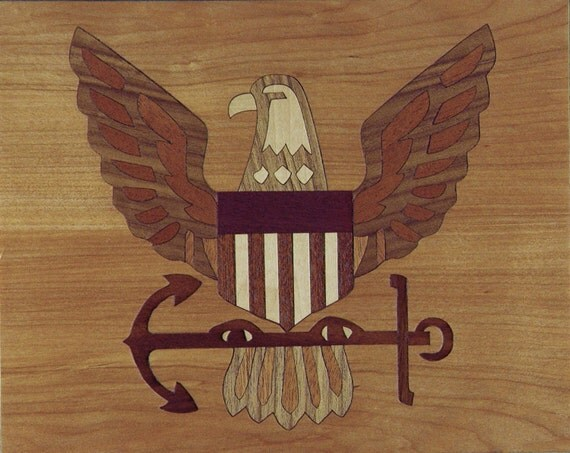 "8""x 10"" Marquetry Project Kit - Navy Crest"
