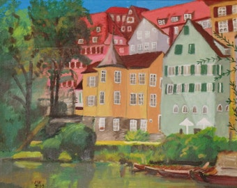 Neckar front Tübingen with Hölderlin Tower, painted, appears very nice, Stockerkäne, weeping willow, Neckar River