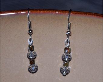 Ice Blue Glass Dangle Earrings, Ice Blue Drop Earrings, Handmade Earrings, Glass Bead Earrings, Blue Earrings, Silver Blue Earrings