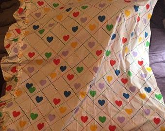 Vintage 80's rainbow color hearts grid ruffle window curtain panel
