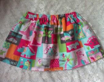 dinosaur skirt, girls skirts, dinosaurs, patchwork, pretty skirt, toddler, baby girl, babies, kids clothes, pink, dino, girly, birthday girl