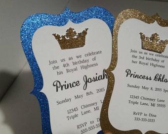 10 Gold/Royal Blue Prince or Princess Invitations, Royalty Invitations, Glitter Crown Invitations