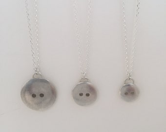 Large Silver Button Pendent Necklace