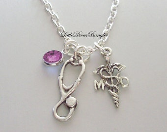 MD ( MedicaL DR / Stethoscope CHARM  / Necklace W/ Swarovski Birthstone / Md Necklace / Gift For Her / Under 20  Usa NK1