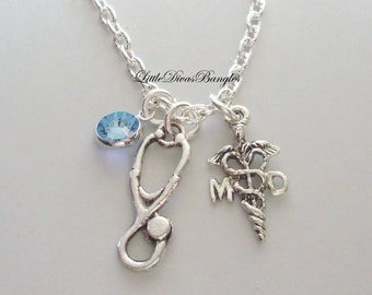 MD ( MedicaL DR / Stethoscope CHARM  / Necklace W/ Swarovski Birthstone / Md Necklace / Gift For Her / Under 20  Usa   NL1