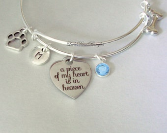 A Piece Of My HEART Dog Charm Bracelet W/ Birthstone Drop / INITIAL / Memorial Bangle  / Lost  Of Pet  Bracelet / Gift For Her Usa P1