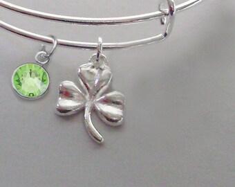 Three Leaf CLOVER Charm Bangle W/  Birthstone  / Good Luck Charm  Irish Charm Bracelets Under Twenty / Gift For Her   Usa IR1