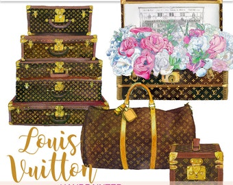 Louis Vuitton clipart watercolor planner clipart LV clipart suitcase clipart vuitton printable travel clipart art for sticker PrintableHenry
