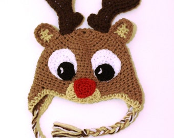 All Sizes - Crocheted Rudolph Reindeer Toque Hat