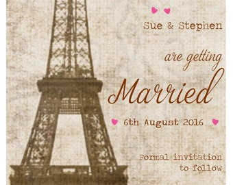 Wedding save the date, Paris, Eifel Tower save the date, pack of 50