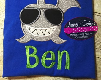 Smiling Shark applique! Tshirt, onesie, romper or bubble! Personalized!