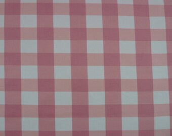 Pink Gingham 100% Cotton Canvas/Duck Fabric.  For Soft Furnishings, Bags and Crafts.