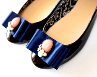 elegant navy blue shoe clips with embellishments