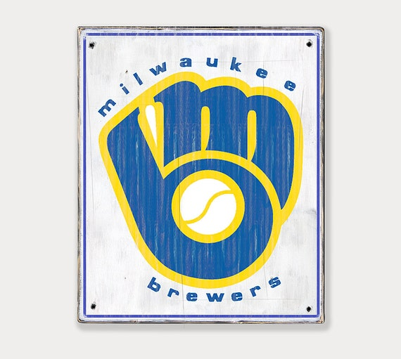 Milwaukee Brewers Retro logo Distressed Rustic Wood sign