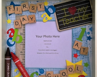 First Day at School, First Day at School Photo Frame, First day at Nursery, scrabble frame, school scrabble frame, nursery, shadowbox frame