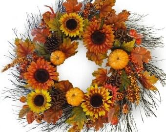 """32"""" Fall Sunflower Pumpkin Wreath"""