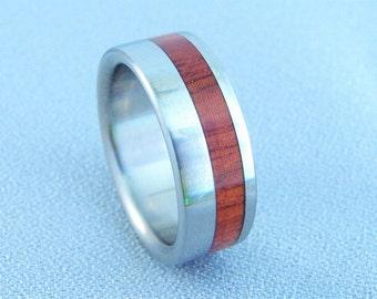 Orange Agate and titanium Ring, Exotic hardwood ring, Rare wood inlay, metal and wood ring, Orange Agate, wedding ring, wedding bands