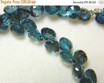 ON SALE 50% London Blue Topaz Beads, Blue Topaz Onion Briolettes, Faceted Beads, 7mm Beads, 10 Pieces, SKU-Dscn5793