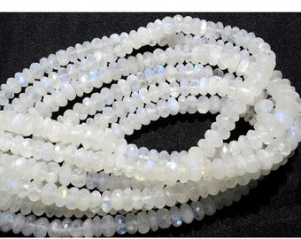 ON SALE 50% Rainbow Moonstone Rondelle Beads, 8mm Beads, Faceted Rondelle Beads,7 Inch Half Strand