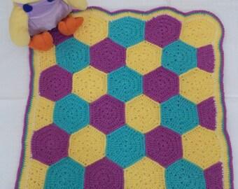 Vibrant Crocheted Hexagon Baby Blanket!  UK Seller!