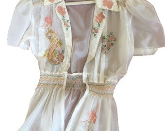 Vintage Embroidered, Smocked off-White Silk Long Robe/Dressing Gown -from The Phillipines, 1940's