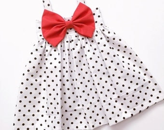White and Black Polkadot Big Bow Dress!