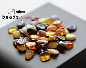 Multicolor amber Chips beads for jewelry Making. Natural polished amber. Mix color of beads. Chips style. 50 Pieces. #2437