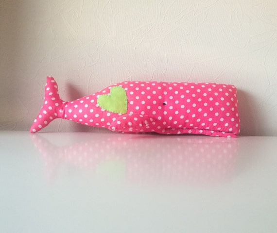 Stuffed whale, soft red whale, whale toy, whale decor