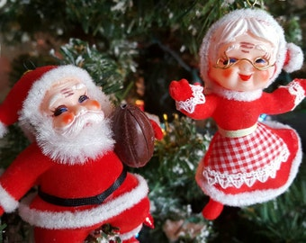 Mr an Mrs Claus Flocked Orniment  Vintage Santa