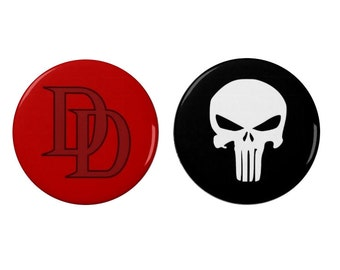 Daredevil - Punisher -  Pin Back Badges/Fridge Magnets - Marvel - TV