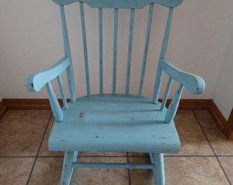 Shabby Blue Antique Wooden Children's Child's Boy's Rocking Chair