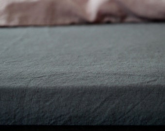Dark Grey Fitted Sheet 200x 200 cm (80x 80 in), stone washed 100% Linen