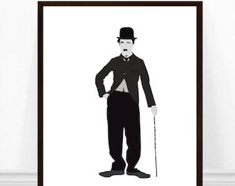 Charlie Chaplin Print, Charlie Chaplin Poster, Minimalist Art, The Tramp Portrait Art, Charlie Chaplin Minimalist Poster
