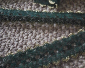 green and gold eyelet lace