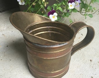 Vintage Copper Watering Can Pitcher Rustic Planter