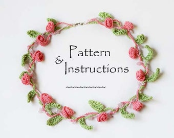 Make your own roses and beads necklace! Crochet Necklace Pattern,Crochet Pattem,BoHo style, Crochet Flowers Necklace Pattern